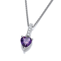 Sparkly Little Amethyst Cubic Zirconia Drop Heart Pendant
