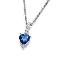 Sparkly Little Sapphire Cubic Zirconia Drop Heart Pendant