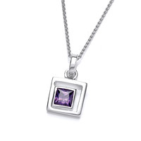 Silver and Amethyst CZ Square in Square Pendant