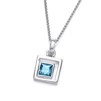 Silver and Aqua CZ Square in Square Pendant