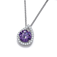 Silver and Amethyst Cubic Zirconia Teardrop Twist Pendant