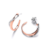 Rose Gold and Cubic Zirconia Twist Hoop Earrings