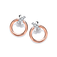 Silver and Rose Gold Dainty Earrings