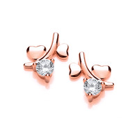 Rose Gold And Cubic Zirconia Tiny Double Heart Earrings
