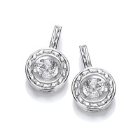 Silver and Dancing CZ Round Garland Earrings