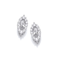 Silver and Cubic Zirconia Marquise Earrings