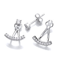 Silver and Cubic Zirconia Bar Jacket Earrings