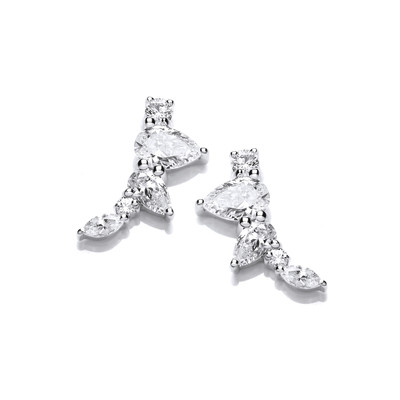 Silver and Cubic Zirconia Pyramid Climber Earrings