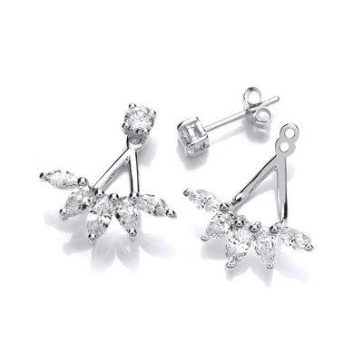 Silver and Cubic Zirconia Diamonds Jacket Earrings