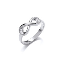 Silver and Cubic Zirconia Infinity Ring