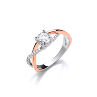 Silver and Rose Gold CZ Solitaire Twist Ring