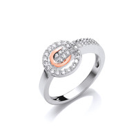 Silver and Rose Gold CZ Circles Ring