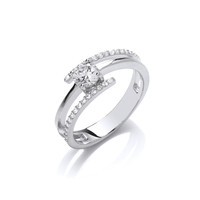 Silver and Cubic Zirconia Three Bar Ring