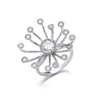 Silver and Cubic Zirconia Starburst Ring