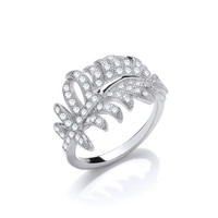 Silver and Cubic Zirconia Chanel Style Feather Ring