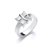 Silver and Cubic Zirconia Square Cross Ring