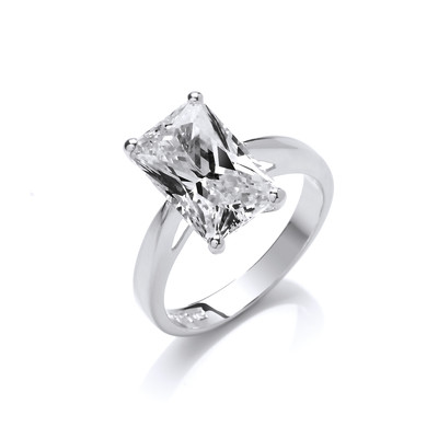Silver and Emerald Cut Cubic Zirconia Solitaire Ring