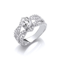 Silver and Cubic Zirconia Twist Band Marquise Ring