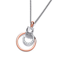 Silver, Rose Gold and Cubic Zirconia Mini Swirl Pendant