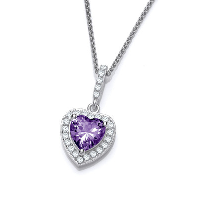 So Cute Mini Amethyst Cubic Zirconia Drop Heart Pendant