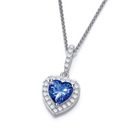 So Cute Mini Tanzanite CZ Drop Heart Pendant