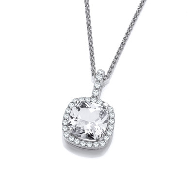 Silver and Cubic Zirconia Square Pillow Pendant