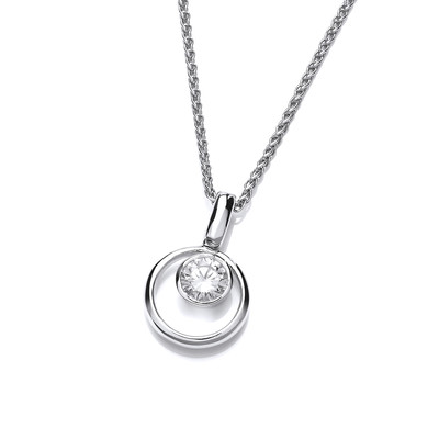 Silver Ring and Cubic Zirconia Solitaire Pendant
