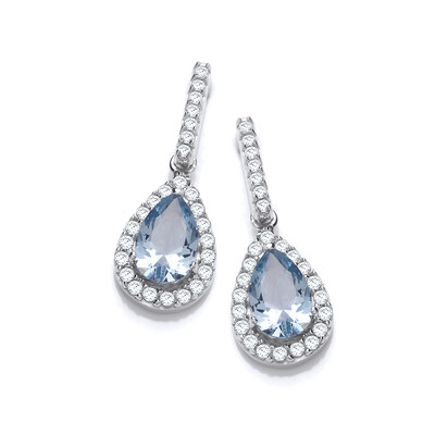 Ornate Silver & Aqua Cubic Zirconia Teardrop Earrings