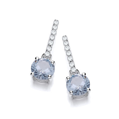 Round Blue Topaz Cubic Zirconia Solitaire Drop Earrings