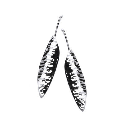 Long Textured Silver Drop Earrings