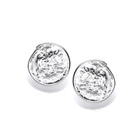 Round Organic Silver Stud Earrings