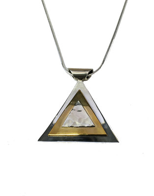 Silver Golden Pyramid Pendant with a 16-18 Chain