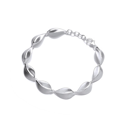 Brushed Silver Leaf Bracelet