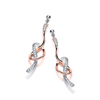 CZ, Rose Gold and Silver Ribbon Earrings