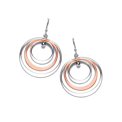 Silver and Copper Triple Hoop Drop Earrings