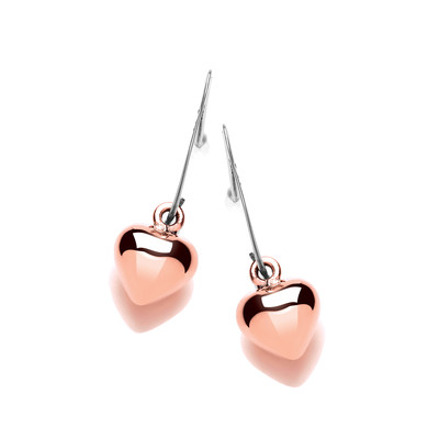 Silver and Copper Puffed Heart Drop Earrings