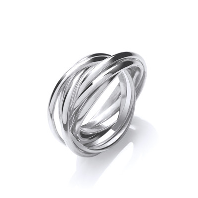 Silver Seven Bands Russian Ring