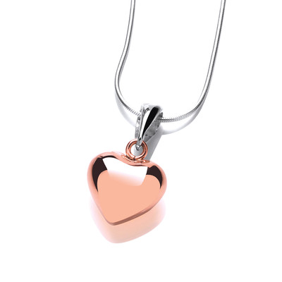 Silver and Copper Puffed Heart Pendant