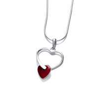 Silver and Red Jasper Entwined Heart Pendant