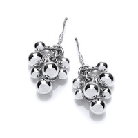 Sterling Silver Bauble Cluster Drop Earrings