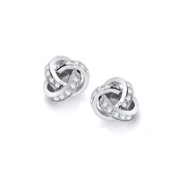 Silver and CZ Knot Earrings
