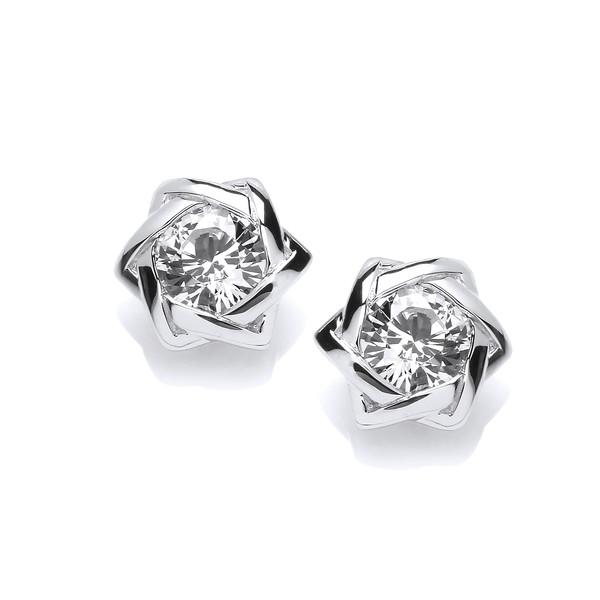 Sterling Silver Twist And Cz Stud Earrings