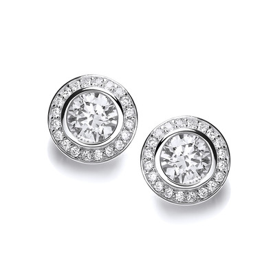 CZ Surround Sterling Silver Solitaire Earrings