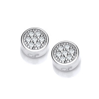 CZ Bezel Set Mini Circle Silver Earrings
