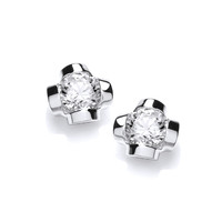 Sterling Silver and CZ Stud Earrings