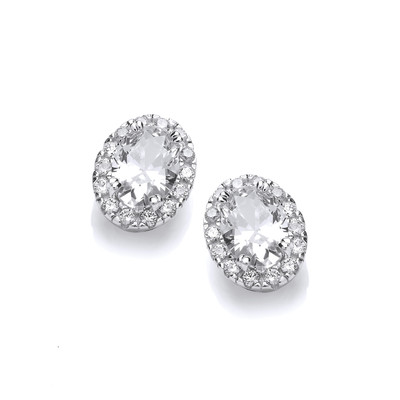 Little Silver & Cubic Zirconia Oval Earrings