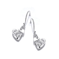 Crumpled Silver Heart Earrings