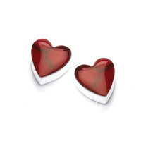 Sterling Silver and Formed Red Jasper Heart Stud Earrings