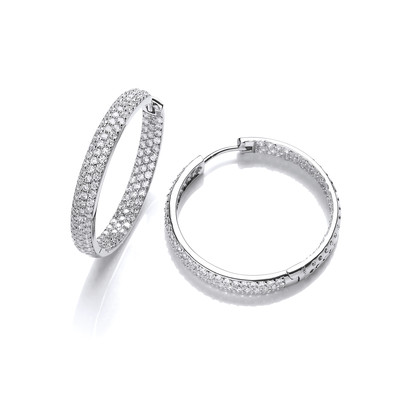 Sparkling Cubic Zirconia and Silver Hoop Earrings