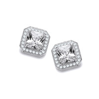 CZ Surround Square Sterling Silver Earrings